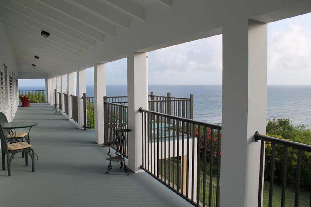 The west-side gallery, looking out to the Caribbean Sea.