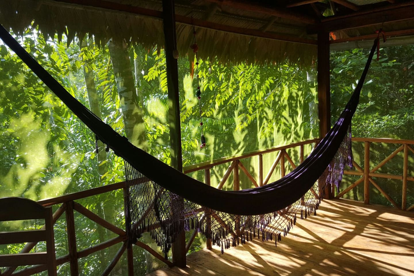 Enjoy downtime or meditate during your plant diet on the upper balcony, that is perfectly protected with mosquito netting. You can watch the wildlife from here.. many colourful birds and sometimes little monkeys come for a visit.