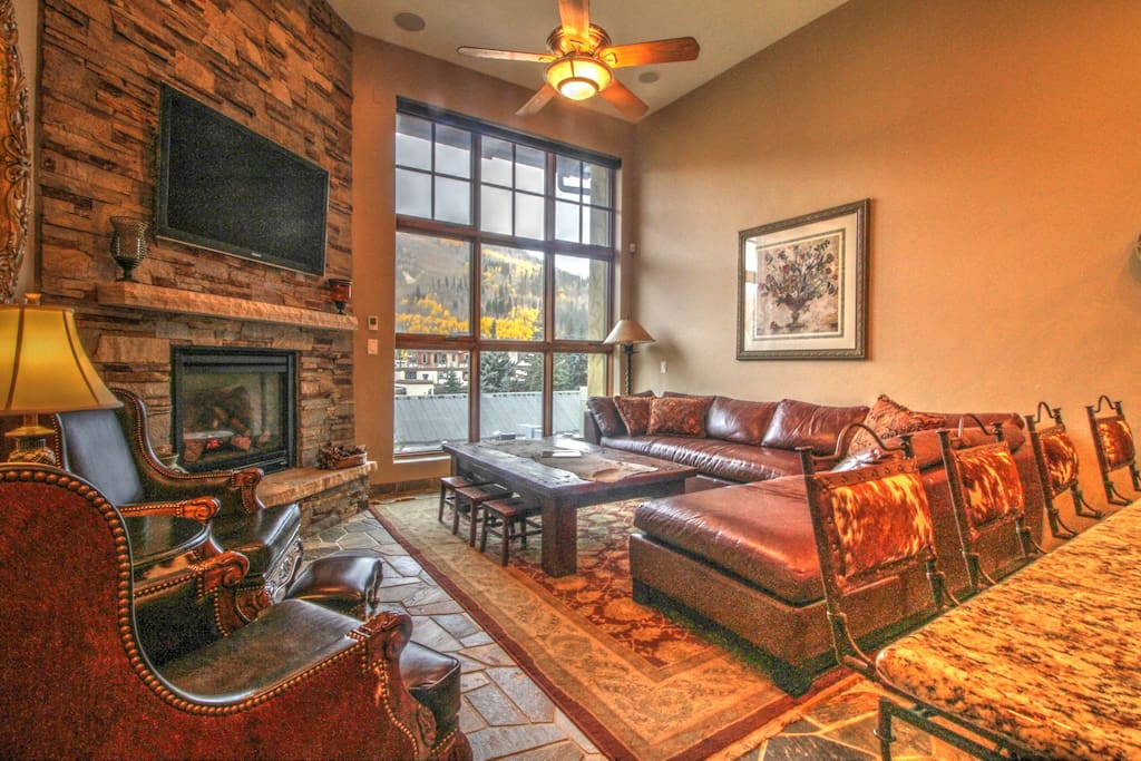 Living Room with Vail Mountain View