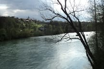 This is river Sava flowing by right next to the house and Radovljica in the background (1 km away).