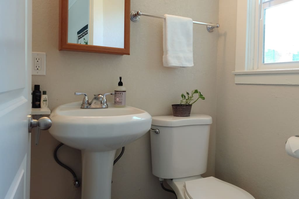 A clean and tidy en suite bathroom includes a shower and complimentary toiletries.