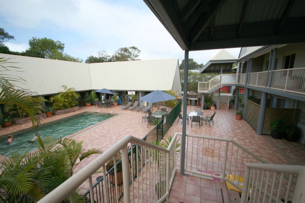 The pool and bar-b-que area for private use of our guests at your door