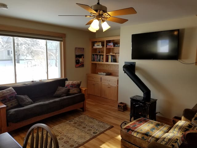 Futon, Gas Fireplace, Smart TV