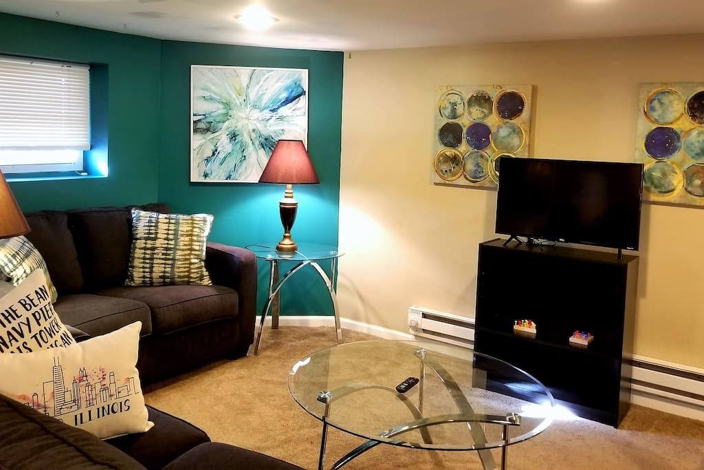 Independent living area with Smart TV and Wi-Fi.