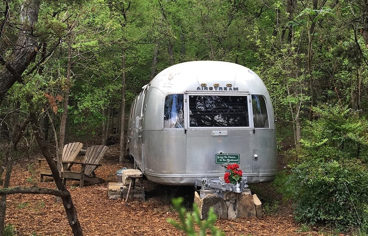 Vintage Airstream. Steps to Fishing/Swimming.