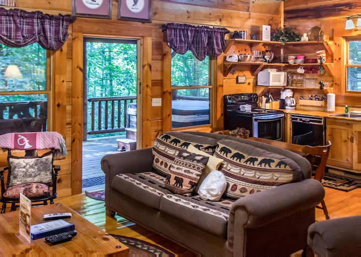 Cozy cabin with hot tub, fireplace, and seasonal pool access