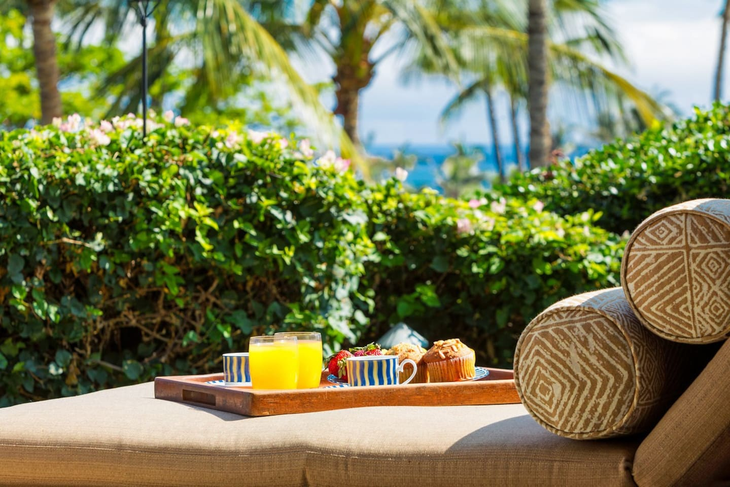 A peaceful lanai awaits with the soothing sounds of the ocean nearby....