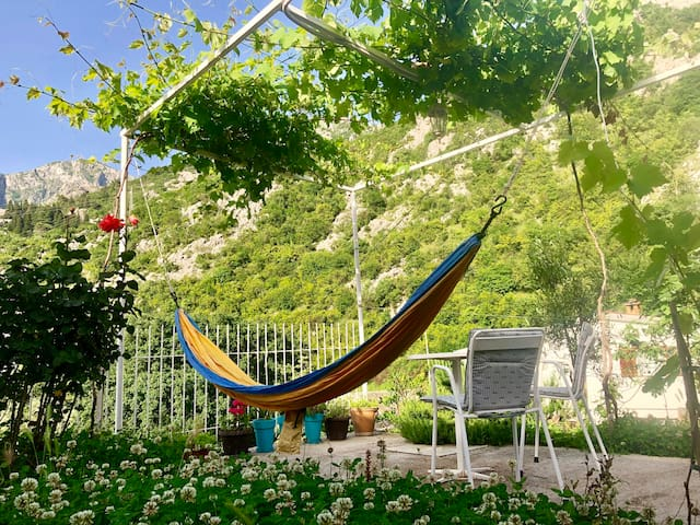 The hammock in the front patio garden.