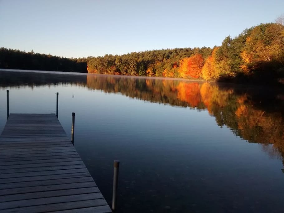 Autumn sunrise at Adams's Lake Cottage