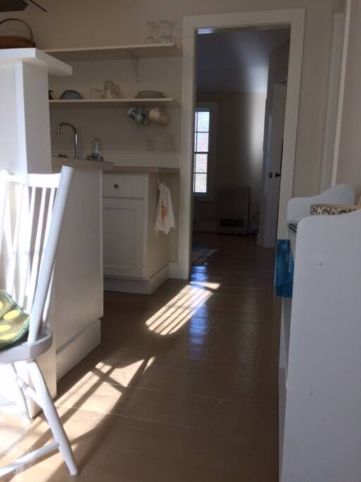 Entering apartment; living room, kitchen, bedroom
