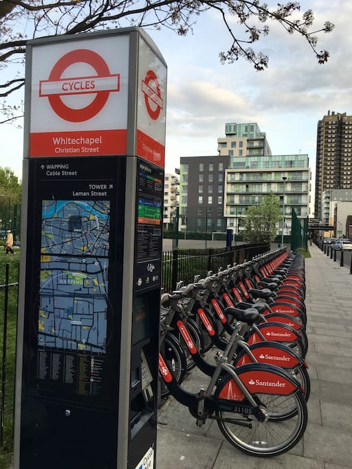 Santander bikes can be hired from £2 per day. Please read the intrusion in the dock area. This dock station is less than one minute from the flat.