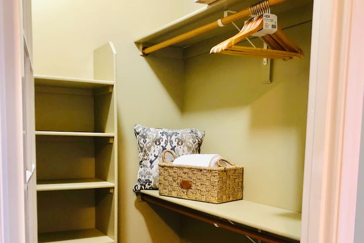 Spacious walk-in closet.  We've thought of everything to make your vacation as easy, and as uncomplicated as possible.  Plus, lots of space to spread our and get those suitcases out of the way!