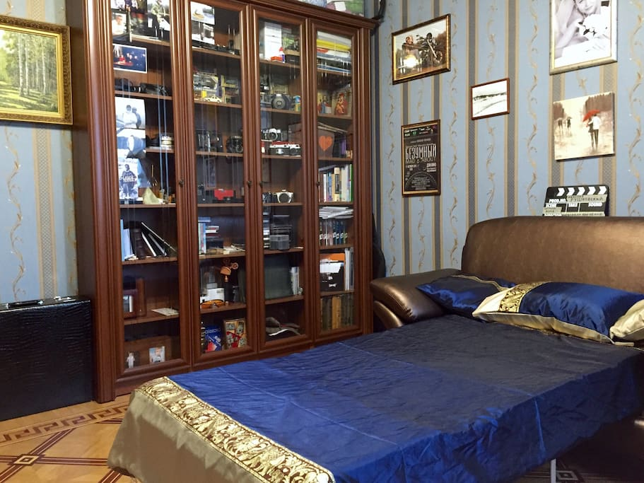 The room. Fold-out sofa. Bed linen is included