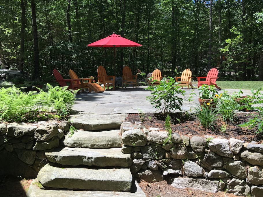 Relax on the patio, just steps down to the dock.