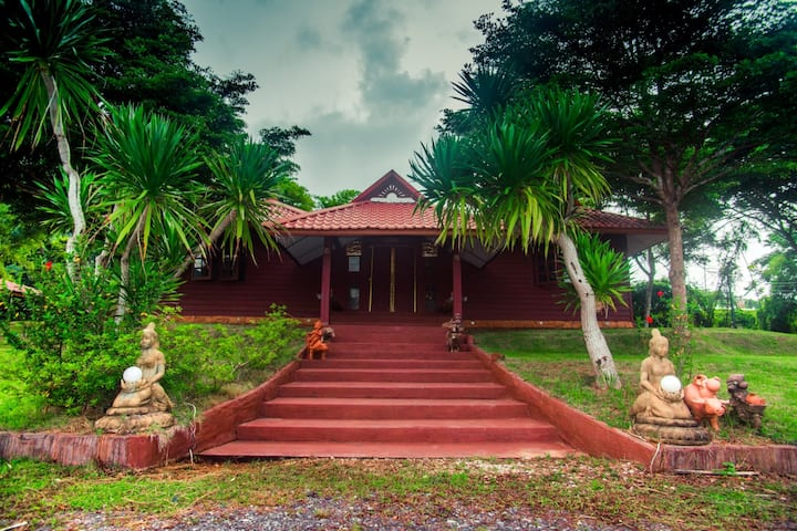 Thai style wooden house in north east of Thailand