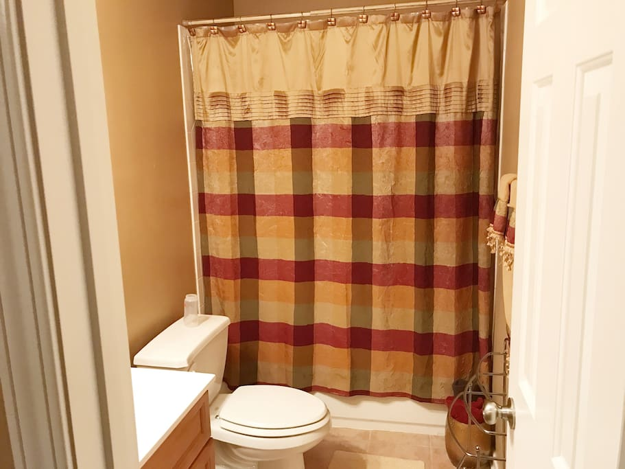 Private bathroom. Towels, soap, and bath soap provided. Bathroom conveniently located close to bedroom.