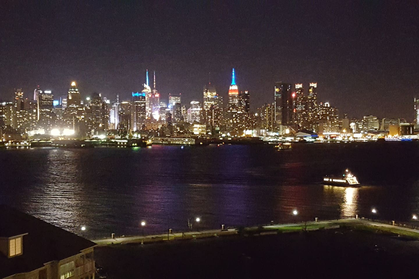 The amazing night time view of midtown Manhattan from our living room window!