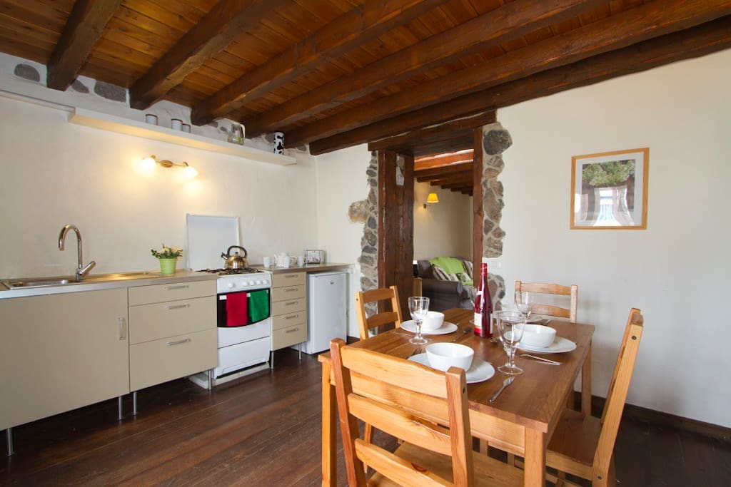 Kitchen and dining area in the cottage