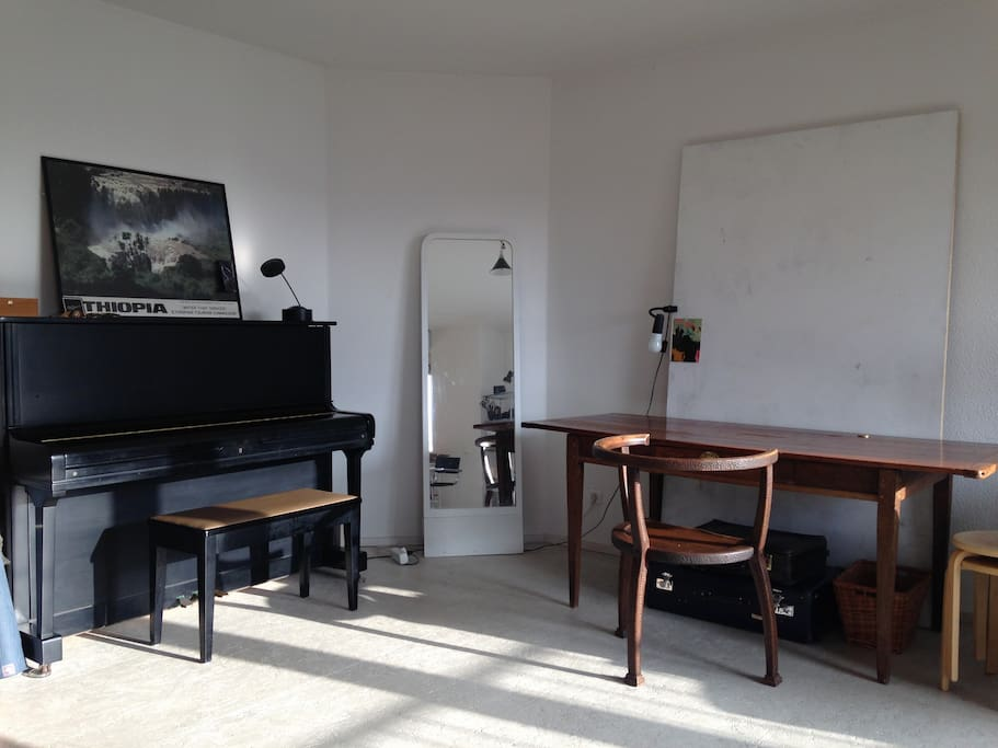 desk and piano