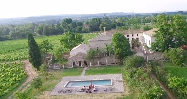 Chambre vue sur les vignes au Domaine Céladon