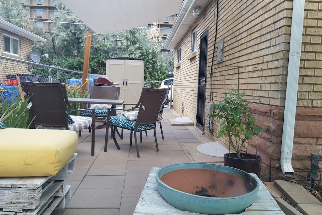 Sitting on patio love seat
