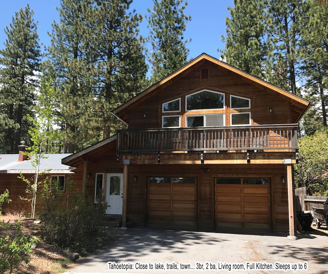 Tahoetopia: Sunny, south-facing, spacious, 3 br, 2 bath, with brand new living/dining room and full kitchen.Sleeps up to six adults. PLUS optional access (by advance arrangement) to patio/BBQ, hot-tub, and two beachfront paddleboards.