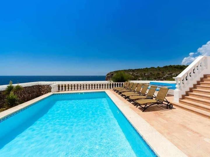 VILLA ES MACAR - Exceptional sea views next to the beach, heated pool