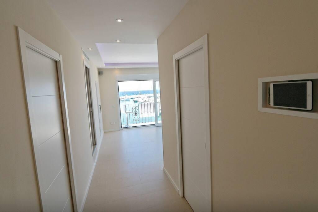 Corridor with iPad in the Wall