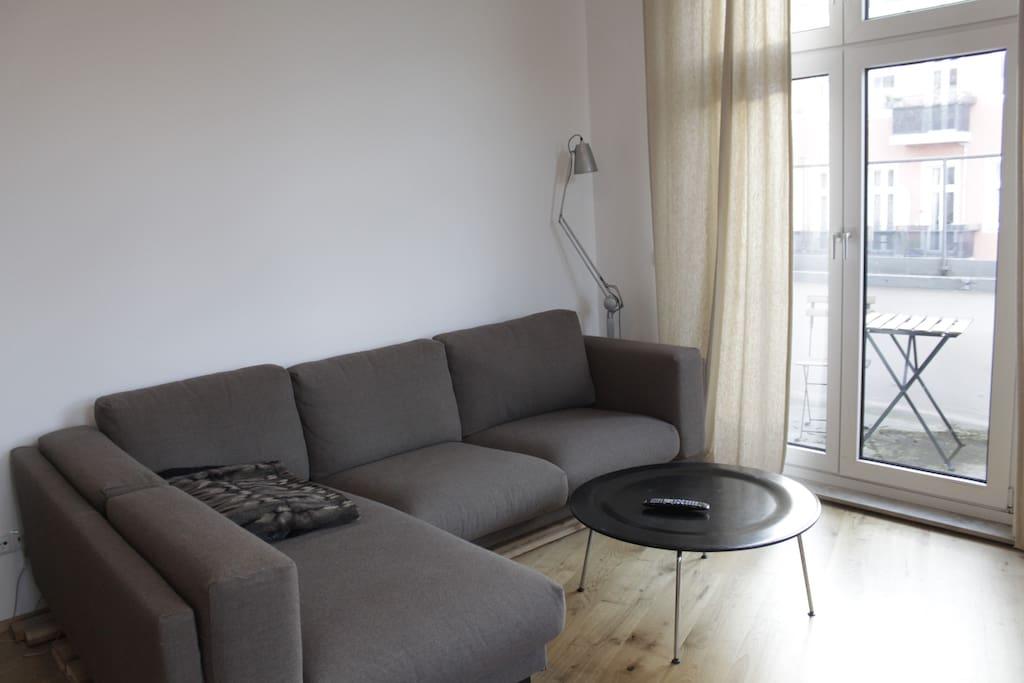 comfy corner sofa in living room.