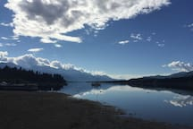 Wonderful for families - sandy beach, clean & shallow water, and view of the Rockies