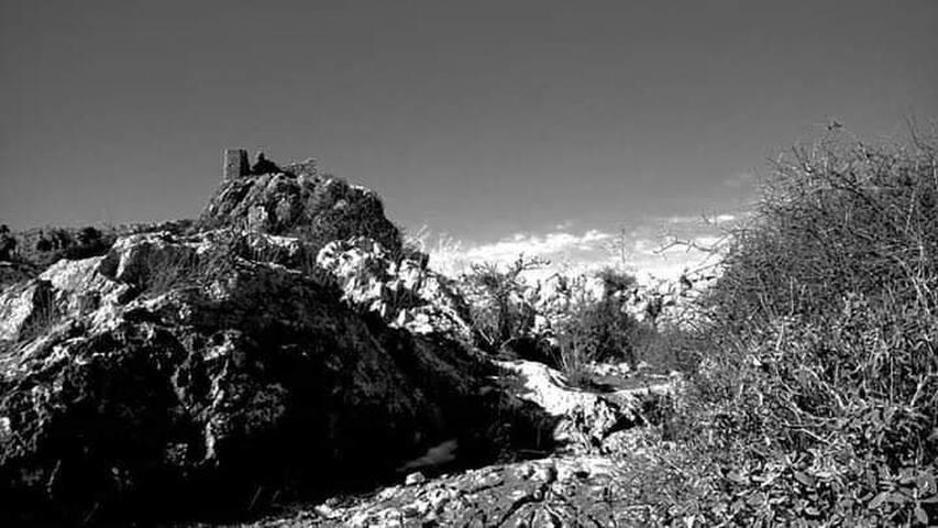 Μακεδονικός πύργος στην κορυφή του Ακόντιου Όρους χτισμένος από τον Μέγα Αλέξανδρο μετά τη μάχη της Χαιρώνιας και την απελευθέρωση του Ορχομενού από την τυραννία της Θήβας. Υπάρχει μονοπάτι 20 λεπτά με τα πόδια από το στούντιο.