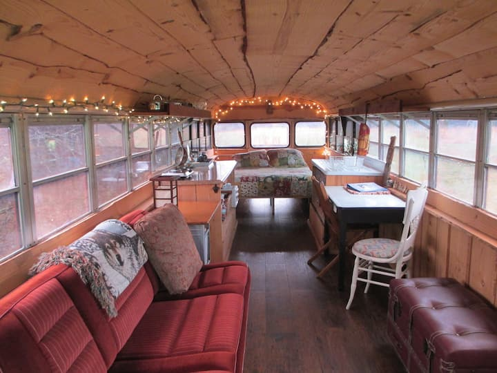 School Bus Home on Farm, Lake View, Solar Powered
