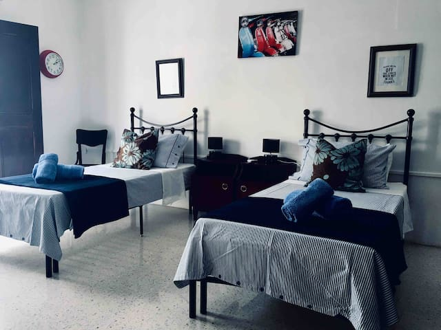 ✅ air conditioner  ✅ 2 single beds  ✅ private room ( not sharing)  ✅ small refrigerator in the room for personal use