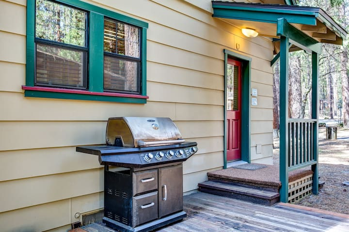 Gas BBQ and side door leading into kitchen area.