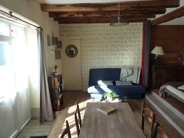Pièce à vivre lumineuse avec table pour 4 personnes et le coin salon avec Clic-clac (matelas Bultex).