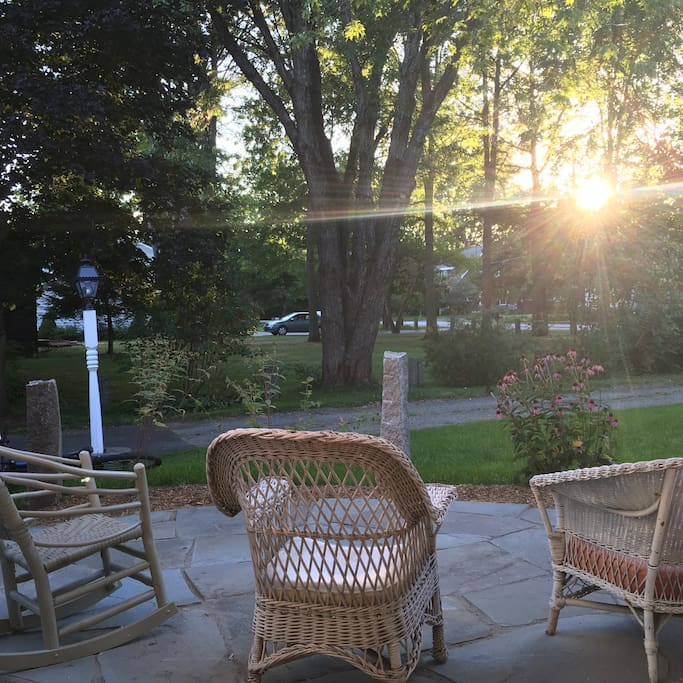 Guests are welcome to enjoy our stone patio; a perfect place to unwind at the end of the day.