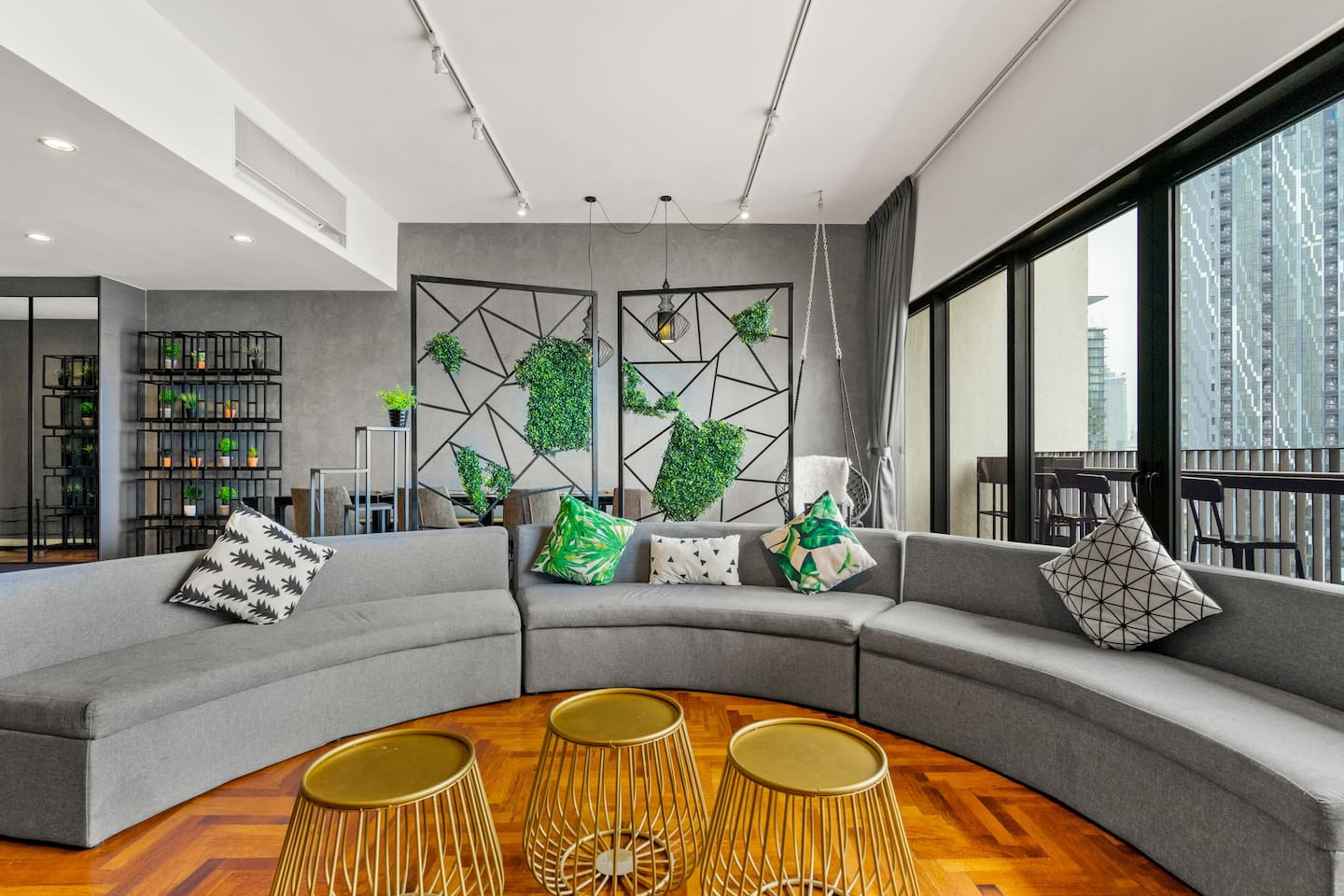 Wide space living room with curved sofa