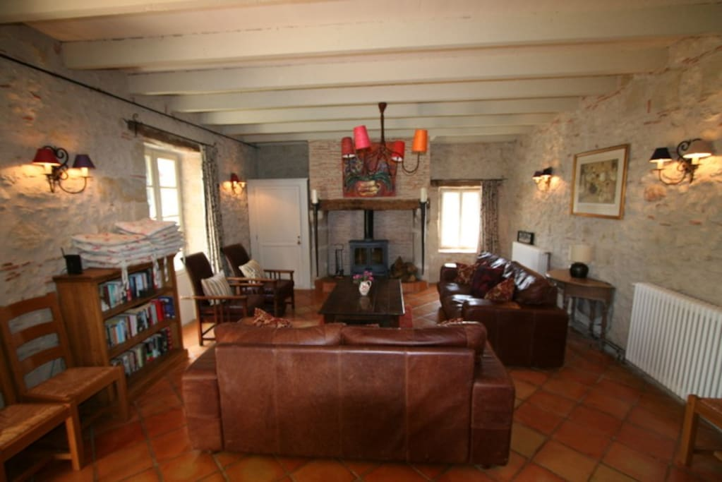 Farmhouse, lounge with log burner