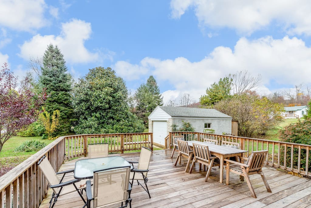 You'll find plenty of seating on the spacious deck for a family cookout.