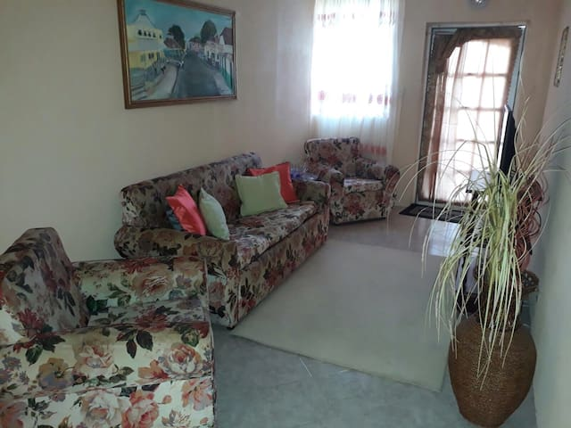 Living room equipped with television and cable