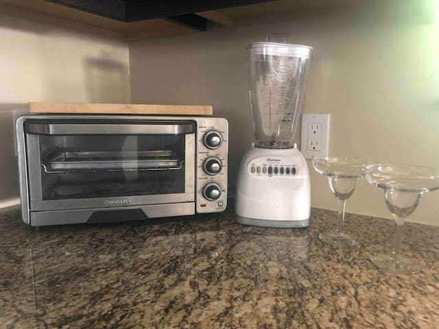 Toaster oven, blender and margarita cups to make your stay a fiesta
