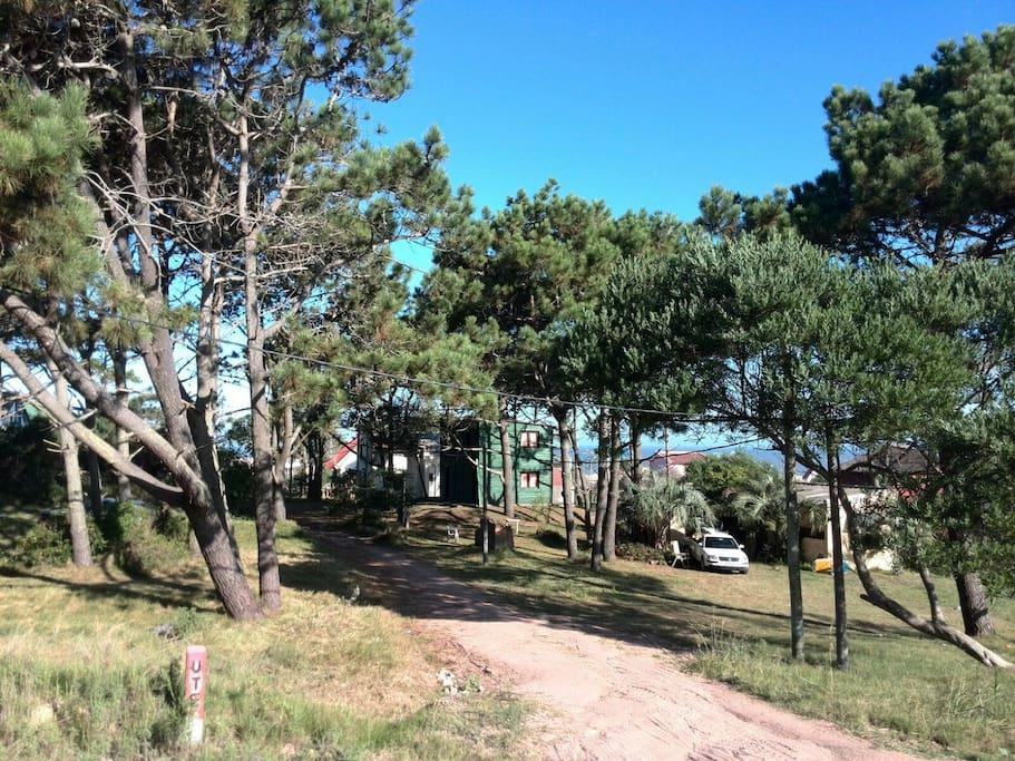 Vista general del entorno de la Cabaña, arbolado,tranquilo con parking.
