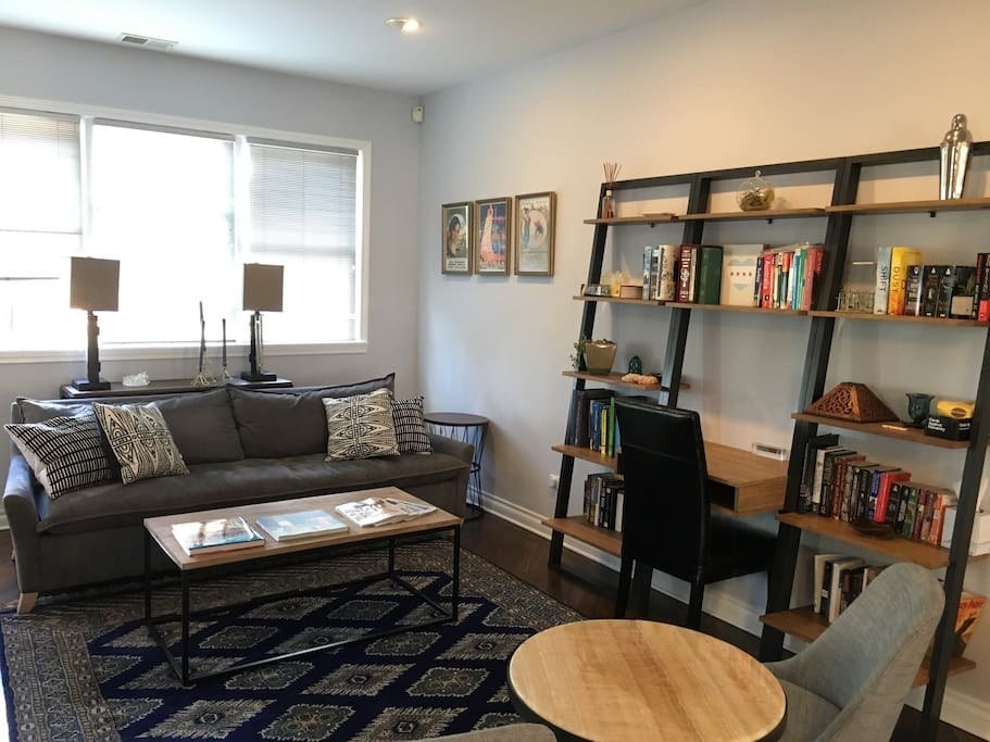 Living room with desk/library - ripe for entertaining or sitting back and enjoying a great read