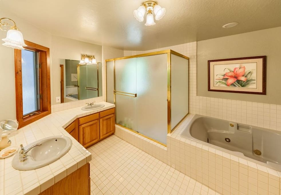 Private en-suite Master Bath... enjoy your Jacuzzi Tub for two, or roomy, two head, shower at the end of an active day.