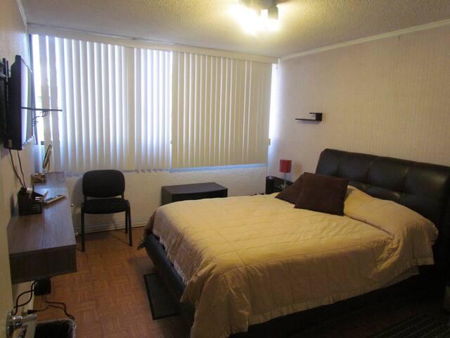 Recamara 2 cama matrimonial, closet, TV Smart, escritorio.