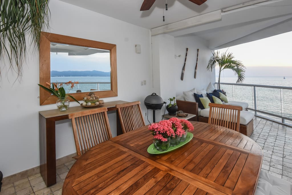 Tastefully decorated private patio, with the smell of the ocean