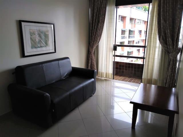 Sala  com varanda  e sofá cama