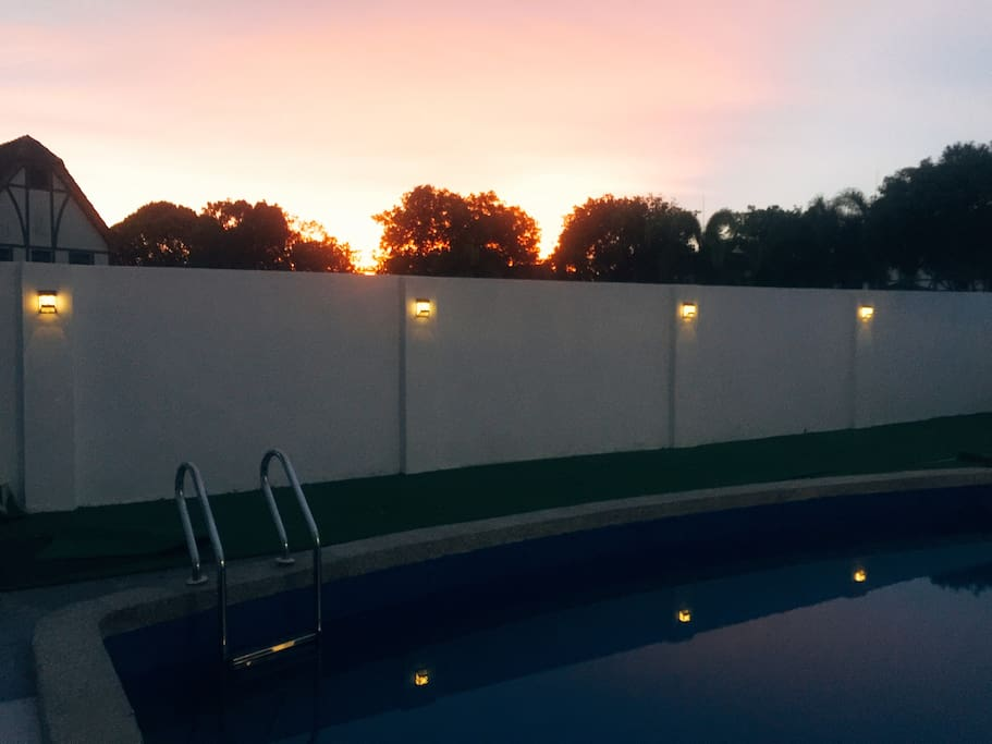 Sunset view with solar light