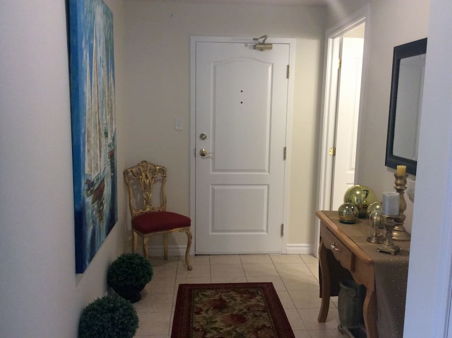 Entrance to apartment with bathroom by door