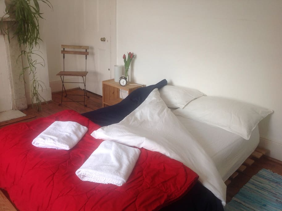 A big comfortable double bed for guests opting for this room